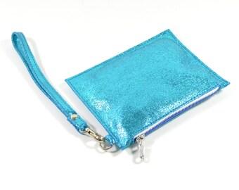 Mimi - Handmade Metallic Blue Leather Clutch Bag Zip Pouch Purse SS17