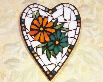 8x6.5 inch Wildflowers Mosaic Heart Wall Art Plaque,daisies,flowers,orange,turquoise,hearts,flower,sweet
