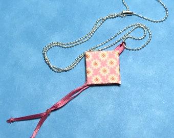 Pink - White Mini Book Pendant Necklace