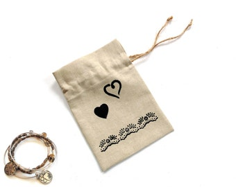 Linen gift bag drawstring pouch jewelry travel bag, heart motif, gift for her jewelry favor bag