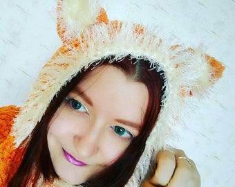 Fox plush hood cowl