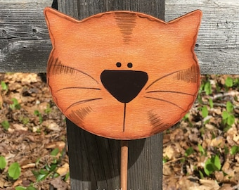 Orange tabby cat, cat plant pokes, plant stick, crazy cat lady gift, mother gift, hand painted wooden cat, cat lover gift, gardener