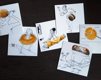 FOODLES - set of 6 greeting cards