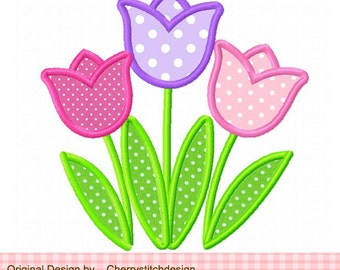 Embroidery design Tulips Machine Embroidery Applique - 4x4 5x5 6x6""