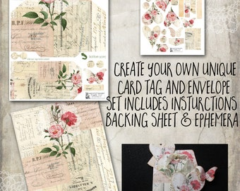 Loaded envelope, Digital, Garden Vintage, DIY, ephemera, envelope, tag, scrapbooking, Vintage Rose, card, tag, loaded envelope swap