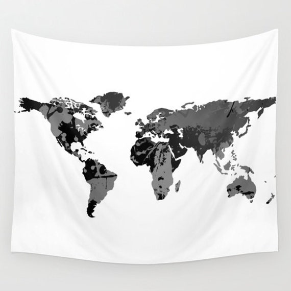 Black white world map wall tapestry wall hanging world map zoom gumiabroncs