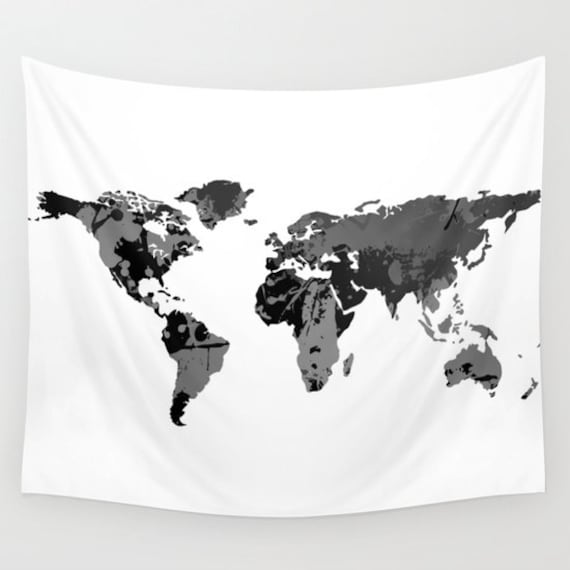 Black white world map wall tapestry wall hanging world map black white world map wall tapestry wall hanging world map decor home decor world map art map of the world monochromatic decor gumiabroncs Choice Image