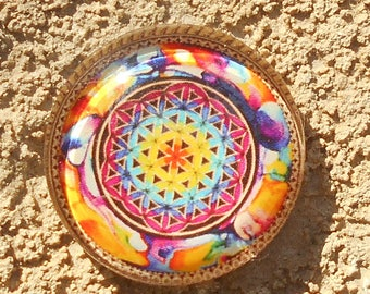 Glass cabochon 20 mm flower of life