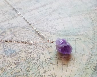 Dainty Amethyst Necklace, Sterling Silver Necklace, Dainty Gemstone Jewelry, Amethyst Gemstone Necklace, Gemstone Jewelry, Birthday Gift