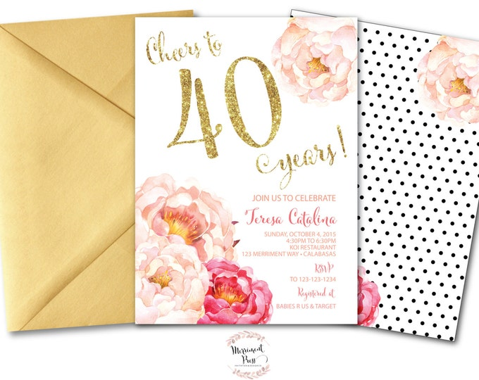 Peony 40th Birthday Invitation // Peonies // Watercolor // Pink // Gold Glitter // Polka Dots // Calligraphy // CALABASAS COLLECTION