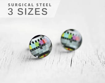 Monoscope post earrings, Surgical steel stud, Tiny earring studs, TV test pattern stud earrings, mens earrings, earrings for men