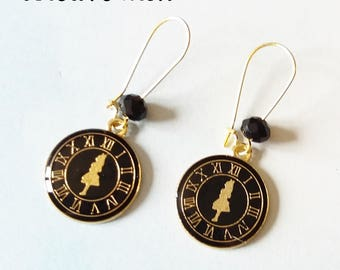 Black and gold Stud Earrings inspired by Alice in the Wonderland