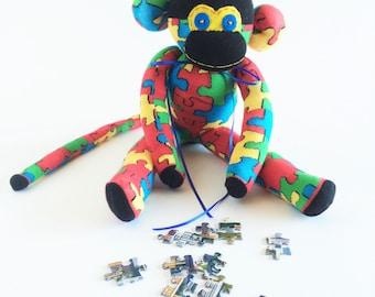 Puzzle - Sock Monkey - Puzzles  -Jigsaw - Red Sock Monkey - Autism Awareness - Autism Support - Autism Plush - Green Sock Monkey - Yellow