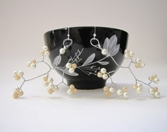 Ivory and Champagne glass pearl wire wrapped wedding earrings silver plated ear wires, Showcase Statement Extravagant Cherry Blossom