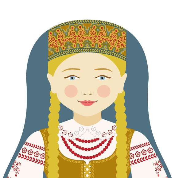 Lithuanian Doll Art Print with traditional folk dress, matryoshka