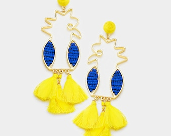 Beaded Parrot Drop Triple Tassel Feather Dangle Earrings Yellow/Blue