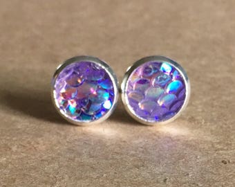 8mm Purple Mermaid Scale Earrings, Green Mermaid Earrings, Dragony Scale Earrings