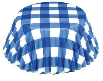 Blue Gingham Cupcake Liner, Blue and White Liners, Blue and White Cupcake Liners, Blue Cupcake Liners