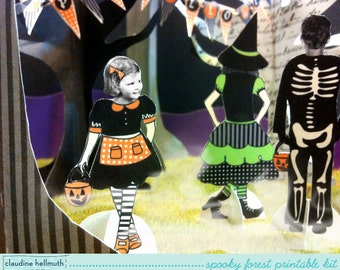 halloween spooky forest - party table centerpiece decoration kit, printable PDF - INSTANT download