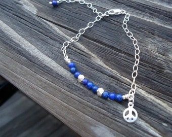 Lapis Bracelet - Children Bracelet - Peace Sign Charm - Navy Blue Jewelry - Sterling Silver Chain Jewellery