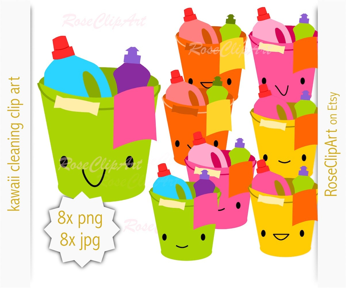 8x kawaii cleaning clipart instant download digital rh etsy com cleaning products clipart free cleaning supplies clipart free