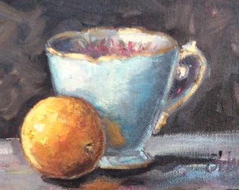 Blue English Tea cup and tangerine original oil painting  5 x 7""