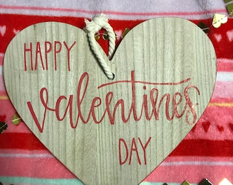 Happy Valentine's Day Wood Hanging Ornament