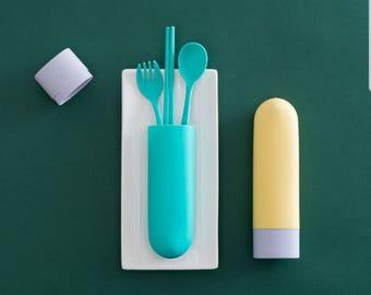 Zero waste travel cutlery. YELLOW