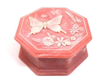 """Pink Floral Keepsake Box with Butterfly Motif, 6"""" Vintage Cameo Stone Jewelry Box by Design Gifts"""