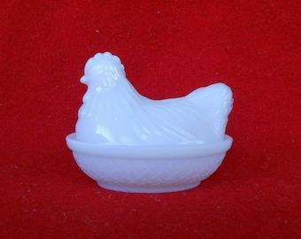 Hazel Atlas White Platonite/Milk Glass Hen on Nest