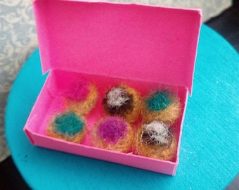 1:6 Scale Assorted Donuts Needle Felted, 6 Miniature Donuts in a Pink Box