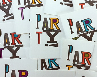 1990s Vintage Letterpress Party Invitations