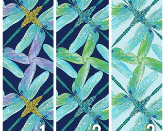 Geometric Dragonfly Fabric - blue/purple/green [[by the half yard]]