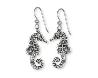 Solid Sterling Silver Seahorse Earrings Jewelry SE2-E