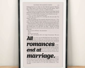 Far From The Madding Crowd Book Page Art All Romances End At Marriage Print