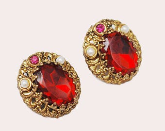 Red Crystal Earrings - West Germany - Clip on earring - red rhinestone - white pearl