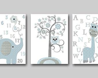 Alphabet Elephant Nursery Printable Art Instant Download Digital Art Baby Room Decor Digital Download Baby Boy Nursery set of 3 8x10 11X14