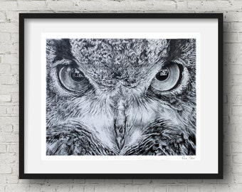 Nature Wall Art Owl Print by Pierre Bolouvi Black and White Art Owl Wall Decor