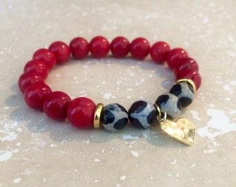 Agate bracelet,animal print bracelet,Coral Bracelet,Red Coral bracelet,red stone bracelet,agate stone bracelet,coral stone bracelet,boho bra