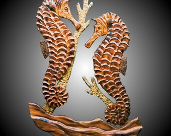 Twin Coral Seahorses Wall Sculpture