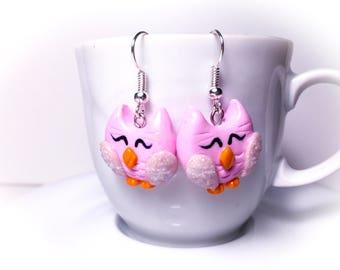 Handmade Fimo owls earrings//gift for her//birthday present//gift for Girls
