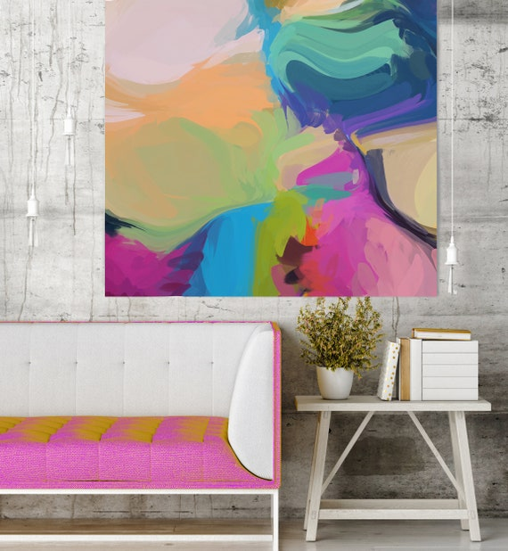"""Night For Two, Art Abstract Print on Canvas up to 50"""", Blue Pink White Yellow Green Abstract Canvas Art Print by Irena Orlov"""