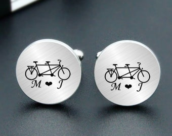 Tandem Bicycle Cufflinks Engraved Tandem Bicycle Cuff Links Engrave Phrase or Logo Custom Personalized Wedding Engraved Cuff Links For Groom