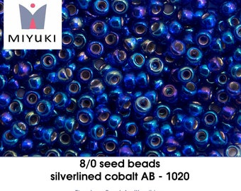 8/0 silverlined cobalt AB - 1020 - seedbeads (10 gram)