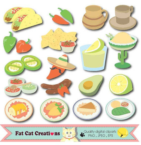 mexican cuisine food mexican restaurant clip art set rh etsy com mexican food clip art free mexican food clip art free