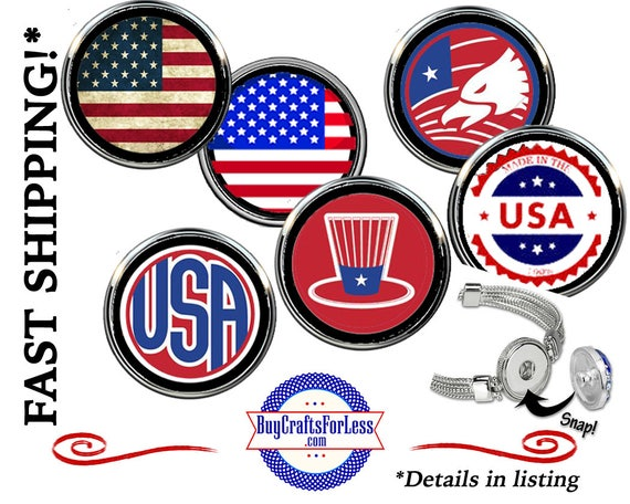 USA SNAP BuTTON, Celebrate USA CHooSE from 6 HANDmade Designs - Super FuN - BeST SeLLER!  +FReE SHiPPiNG and Discounts*