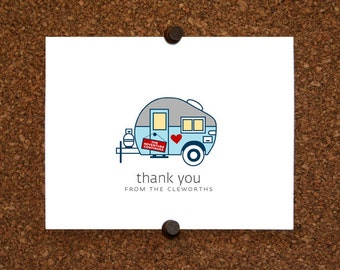 Airstream Travel Trailer Adventure Wedding Stationery / Bridal Shower Thank You Card / Thank Yous / Custom / Personalized / Set of 10