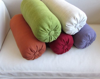 SOLIDS in 5 colors accent lumbar throw Bolster Pillow see description