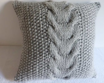 Super Chunky Silver Gray Cable Knit Pillow Cover, Light Gray 20x20 Pillow Case, Thick Yarn Hand Knit Pillow Cover, Decorative  Couch Pillow