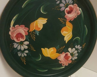 "Vintage Large Green Serving Tray with Hand Painted Roses, 16 "" diameter"